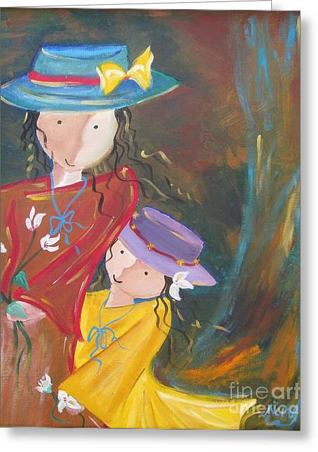 Greeting Card featuring the painting Happiness by Nereida Rodriguez
