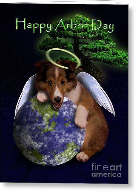 Happy Arbor Day Angel Sheltie Greeting Card by Jeanette K