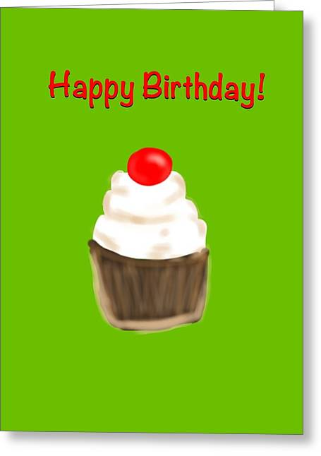 Greeting Card featuring the digital art Happy Bday W A Cherry On Top by Christine Fournier