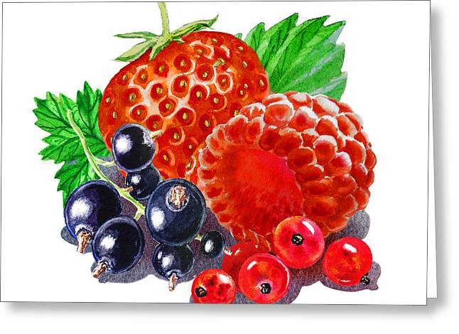 Happy Berry Mix Greeting Card by Irina Sztukowski