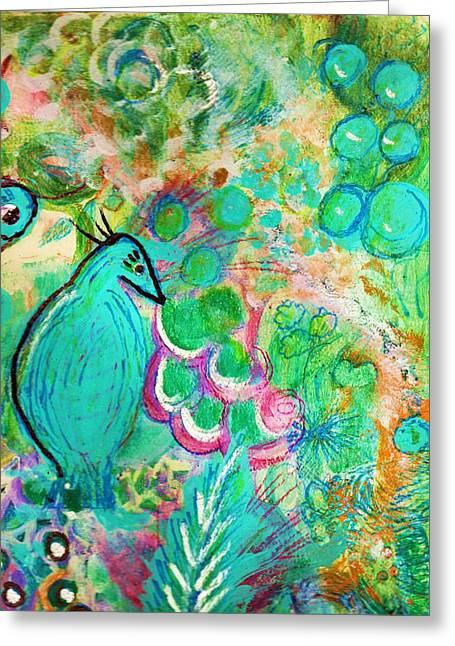 Happy Bird In Aqua Greeting Card by Anne-Elizabeth Whiteway