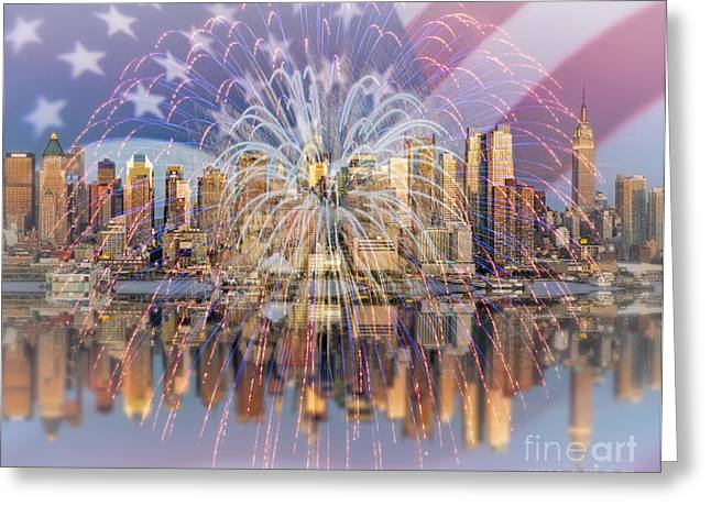 Happy Birthday America Greeting Card by Susan Candelario