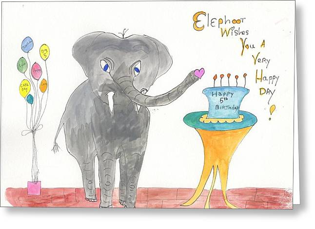 Happy Birthday From Elephoot Greeting Card by Helen Holden-Gladsky