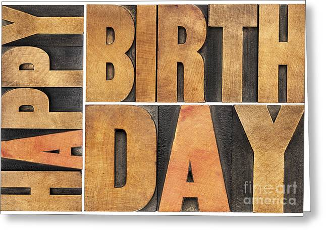 Happy Birthday In Wood Type Greeting Card