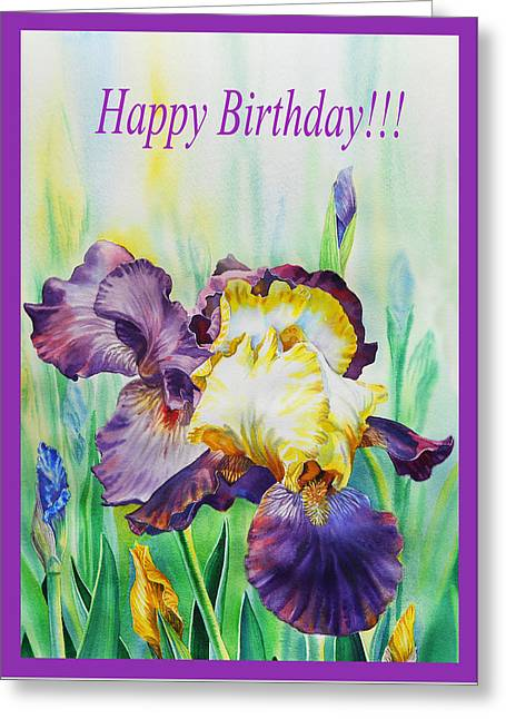 Happy Birthday Iris Flowers Greeting Card