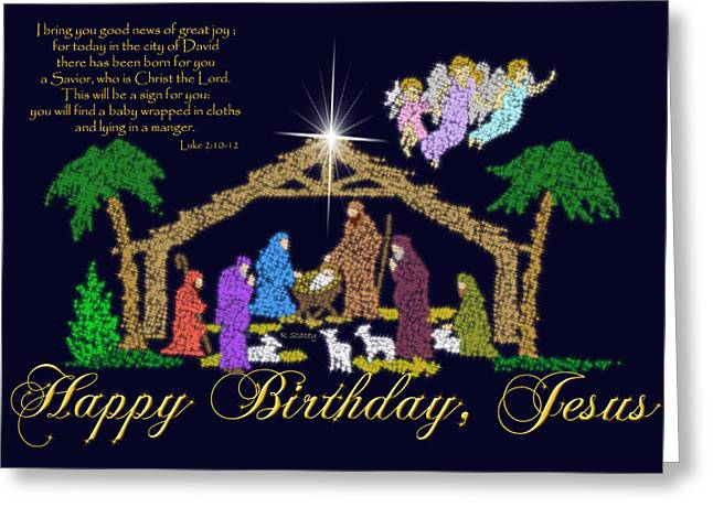 Happy Birthday Jesus Nativity Greeting Card by Robyn Stacey