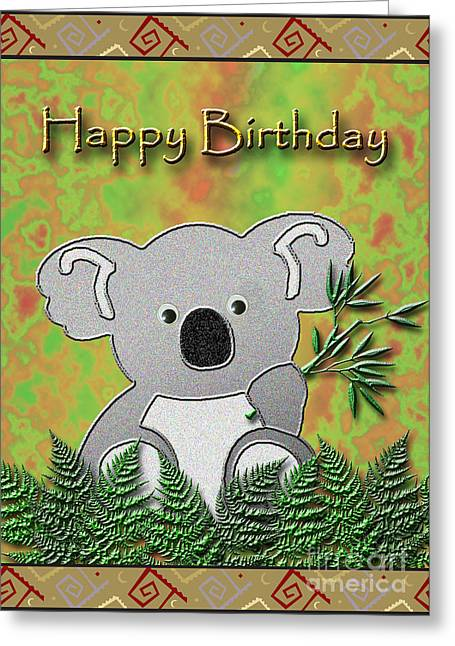 Happy Birthday Koala Bear Greeting Card by Jeanette K