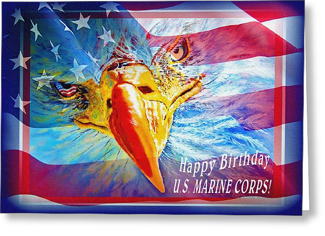 Greeting Card featuring the painting Happy Birthday Marine Corps by Donna Proctor