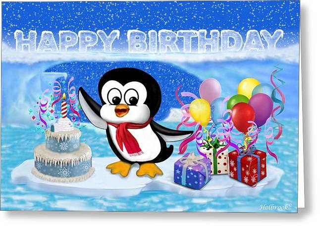 Happy Birthday Penguin Greeting Card