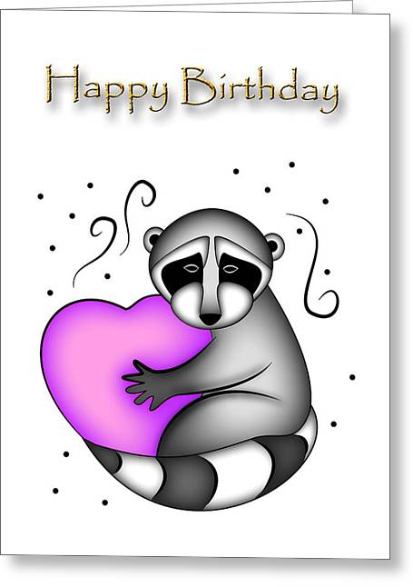 Happy Birthday Raccoon Greeting Card by Jeanette K