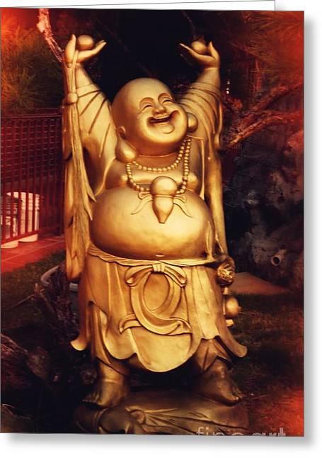 Happy Buddha Greeting Card by Angela Wright