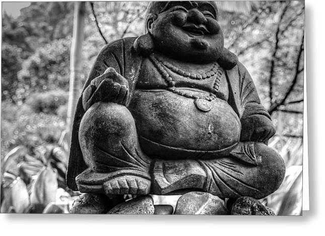 Greeting Card featuring the photograph Happy Buddha by Cathy Donohoue