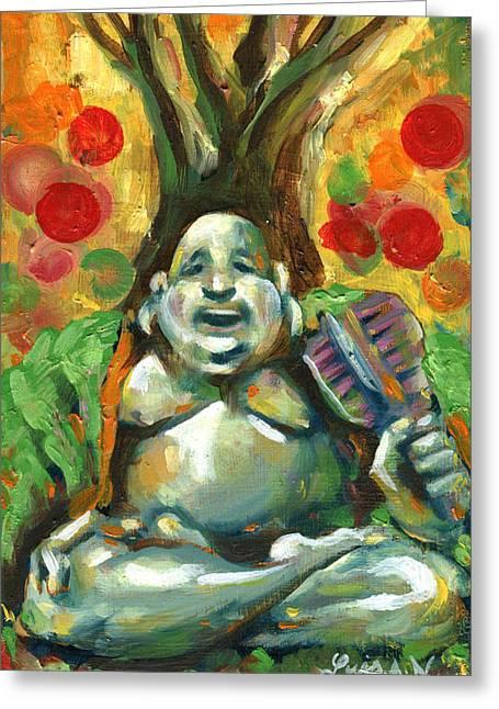 Happy Buddha Greeting Card by Luis  Navarro
