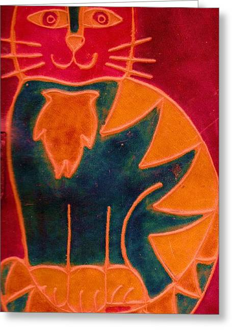 Happy Cat Greeting Card by Anne-Elizabeth Whiteway