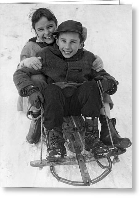 Happy Children On A Sled Greeting Card by Underwood Archives