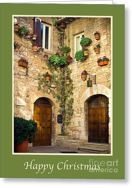 Happy Christmas With A Corner Of Assisi Greeting Card