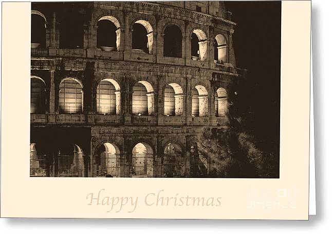 Happy Christmas With Colosseum Greeting Card