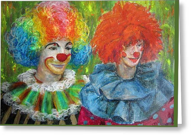 Gemini Clowns Greeting Card