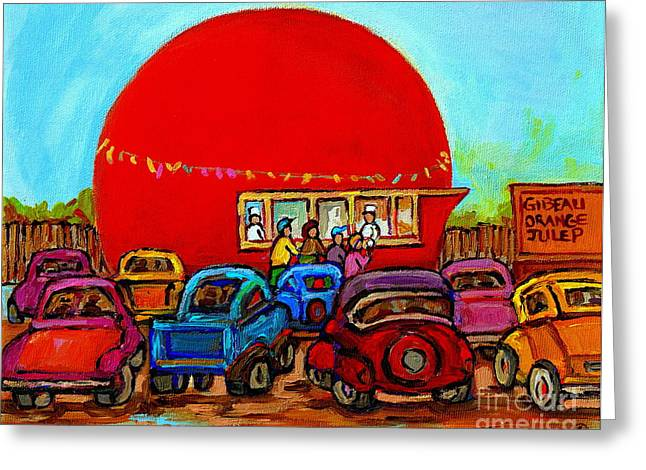 Happy Days At The Gibeau Orange Julep Montreal Landmark Antique Cars Carole Spandau Greeting Card by Carole Spandau