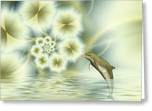 Happy Dolphin In A Surreal World Greeting Card by Gabiw Art