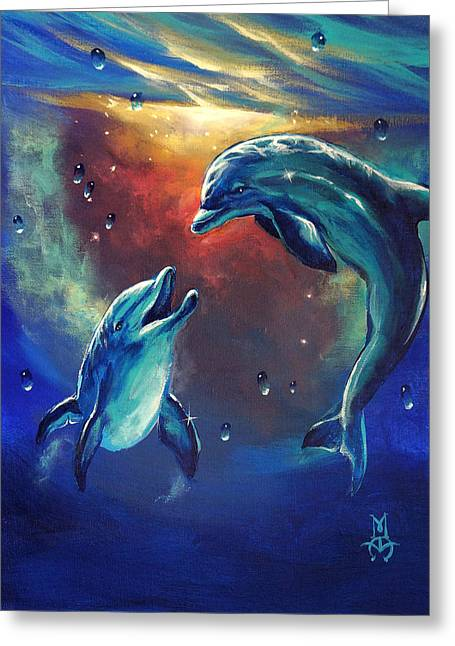 Happy Dolphins Greeting Card by Marco Antonio Aguilar
