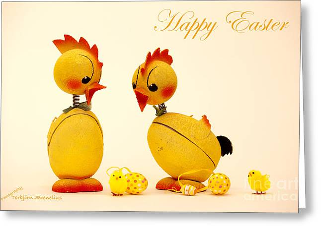 Happy Easter Chickens Greeting Card by Torbjorn Swenelius