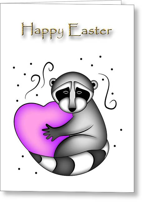 Happy Easter Raccoon Greeting Card by Jeanette K