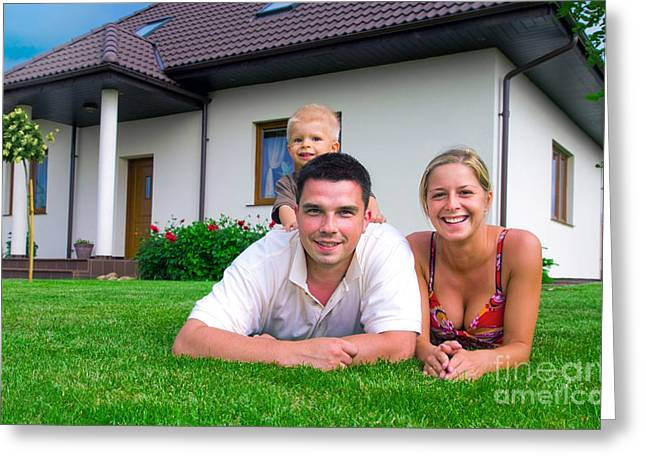 Happy Family And House Greeting Card by Michal Bednarek