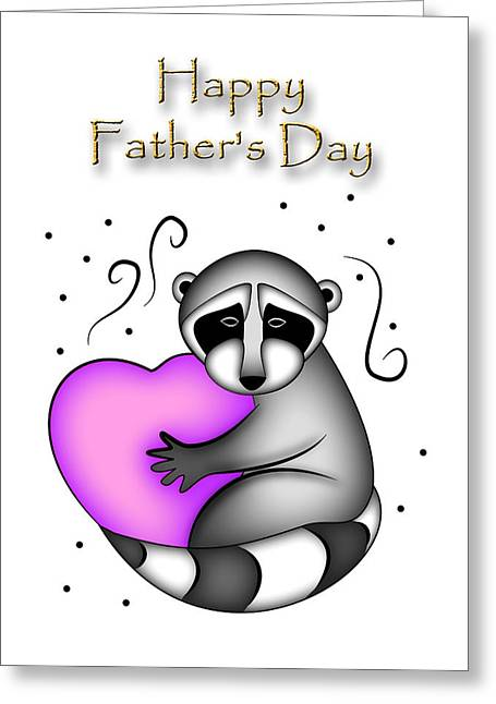 Happy Father's Day Raccoon Greeting Card by Jeanette K