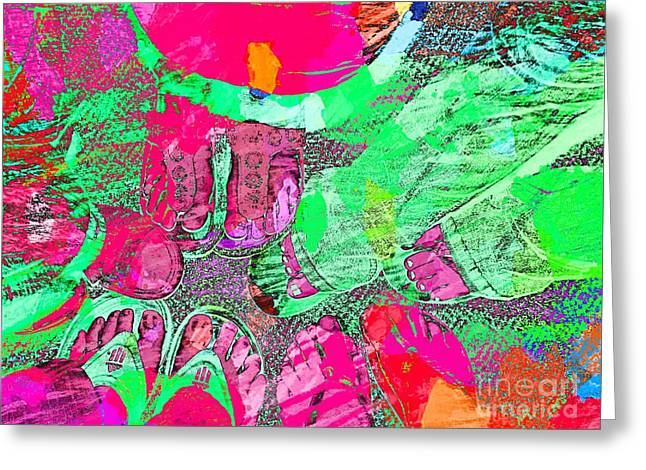 Happy Feet Abstract Photoart Greeting Card by Debbie Portwood