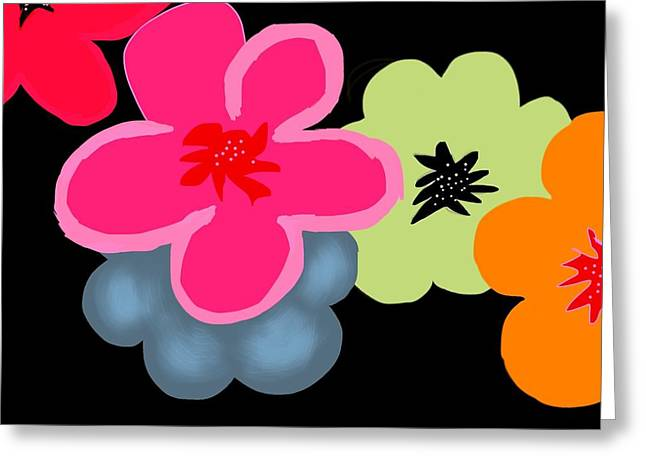 Greeting Card featuring the digital art Happy Flowers Pink by Christine Fournier