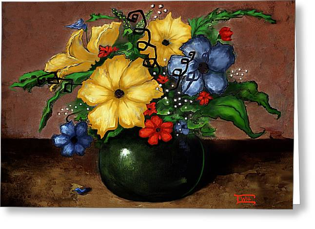 Greeting Card featuring the painting Happy Flowers by Terry Webb Harshman