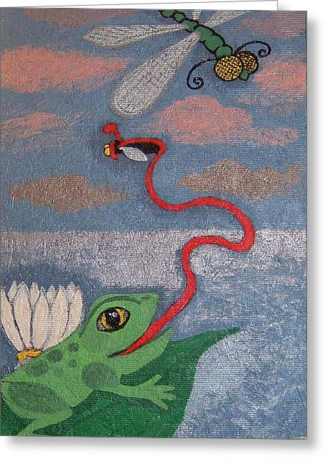 Happy Frog Greeting Card by Yvonne  Kroupa