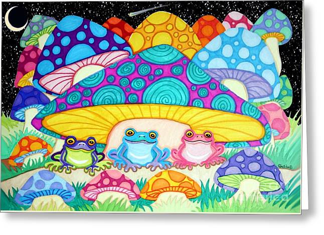 Happy Frogs In The Starlight  Greeting Card by Nick Gustafson