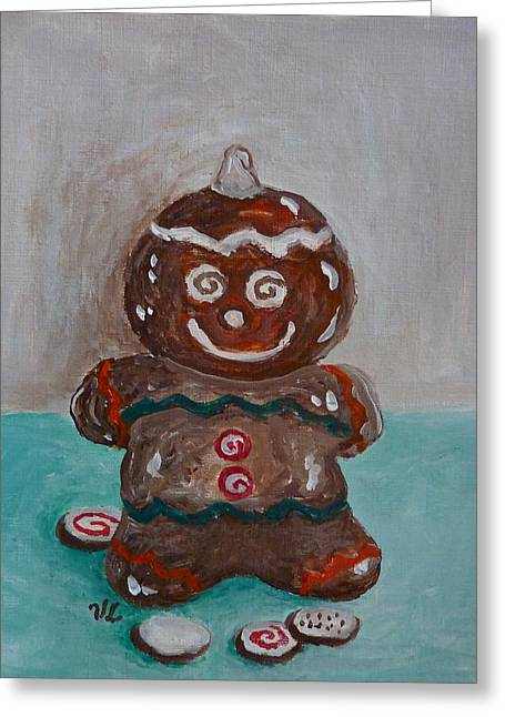 Greeting Card featuring the painting Happy Gingerbread Man by Victoria Lakes