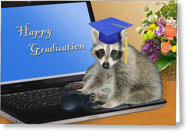 Happy Graduation Raccoon Greeting Card by Jeanette K