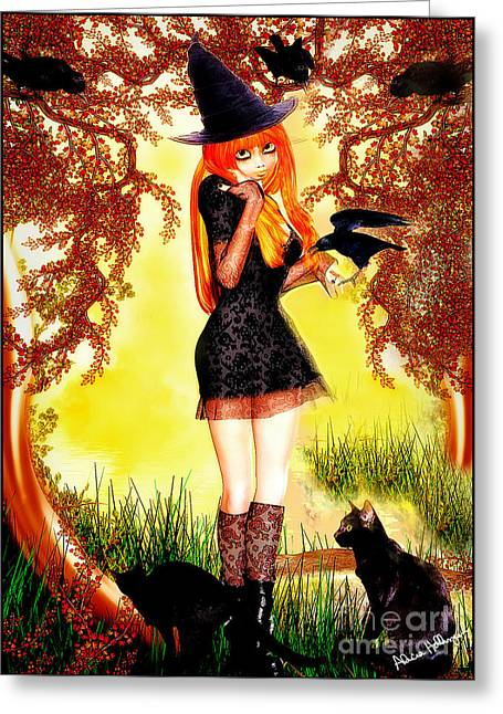 Happy Halloween Cute Witch Greeting Card
