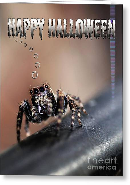 Happy Halloween For The Spider Lovers Greeting Card by Kaye Menner
