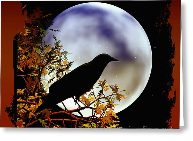Happy Halloween Moon And Crow Greeting Card