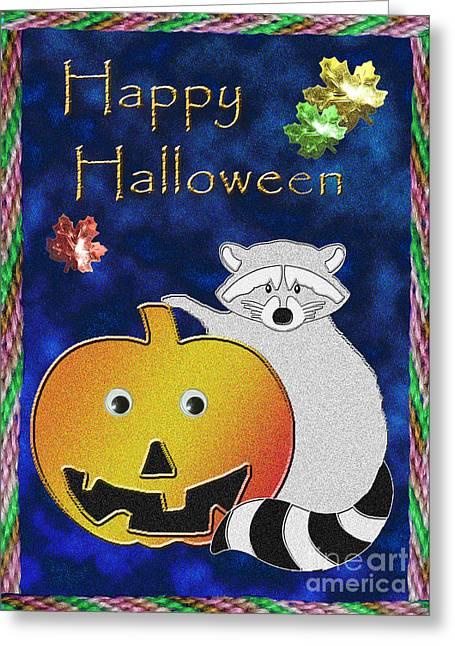 Happy Halloween Raccoon Greeting Card by Jeanette K
