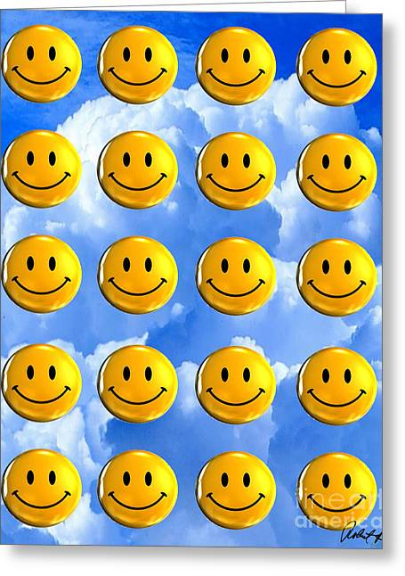 Happy Happy Sunshine Day Bubble Smile Smiley Poster Print Original Signed Art Greeting Card