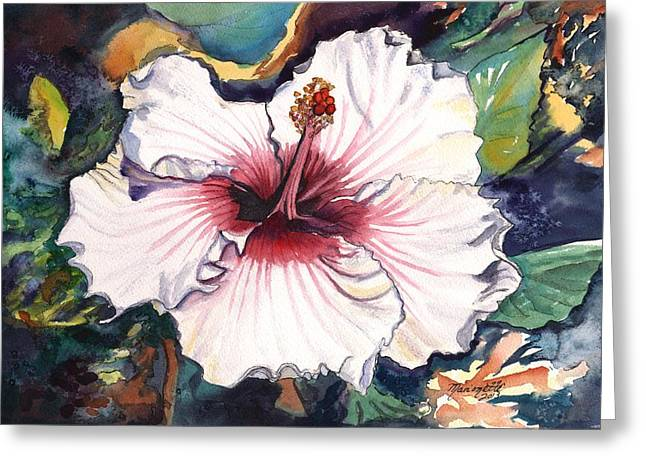 Greeting Card featuring the painting Happy Hawaiian Hibiscus by Marionette Taboniar