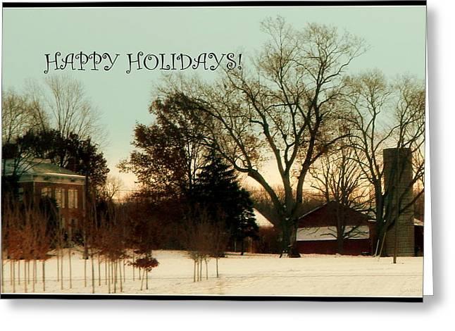 Happy Holiday Card Farm Scene Greeting Card