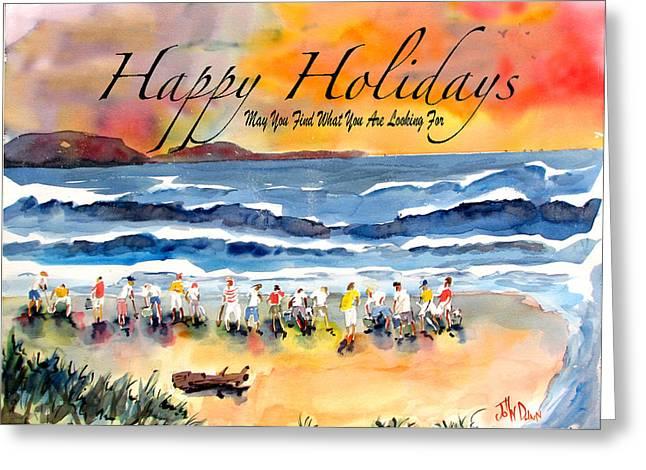 Happy Holiday Clam Diggers Greeting Card by John Dunn