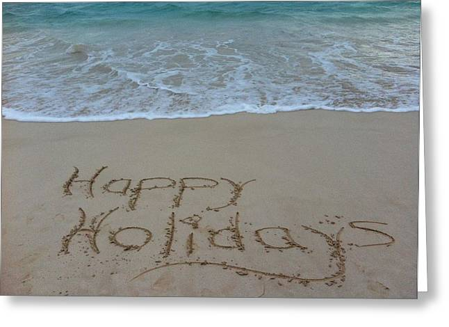 Happy Holidays Beach Messages Greeting Card