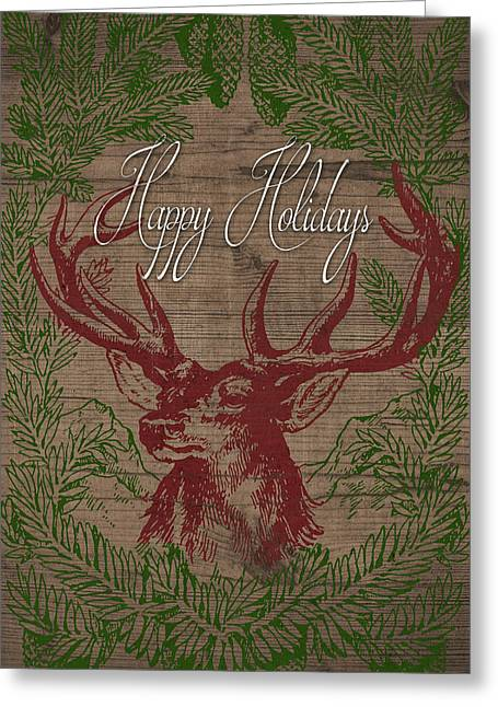 Happy Holidays Deer Greeting Card by South Social Studio