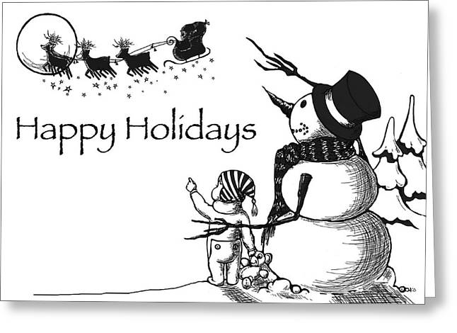 Happy Holidays Greeting Card by Konni Jensen