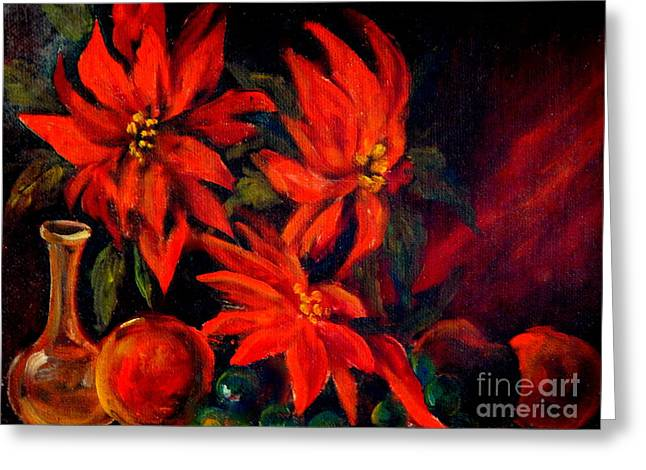 New Orleans Red Poinsettia Oil Painting Greeting Card