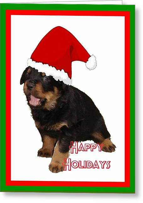 Happy Holidays Rottweiler Christmas Greetings  Greeting Card by Tracey Harrington-Simpson