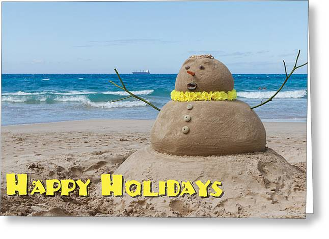 Happy Holidays Sandman Greeting Card by Denise Bird